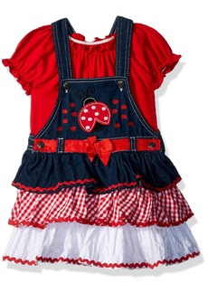 Nannette Girls' Toddler 2 Piece Short Sleeve tee and Jumper Outfit Set red