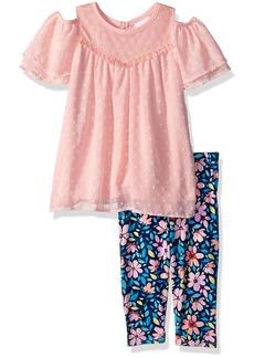 Nannette Girls' Toddler 2 Piece Swiss dot Chiffon Capri Set