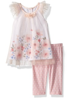 Nannette Girls' Toddler 2 Piece Tulle top and Legging Outfit Set