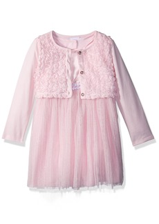 Nannette Girls' Toddler 3 Piece Shrug and mesh Dress Set