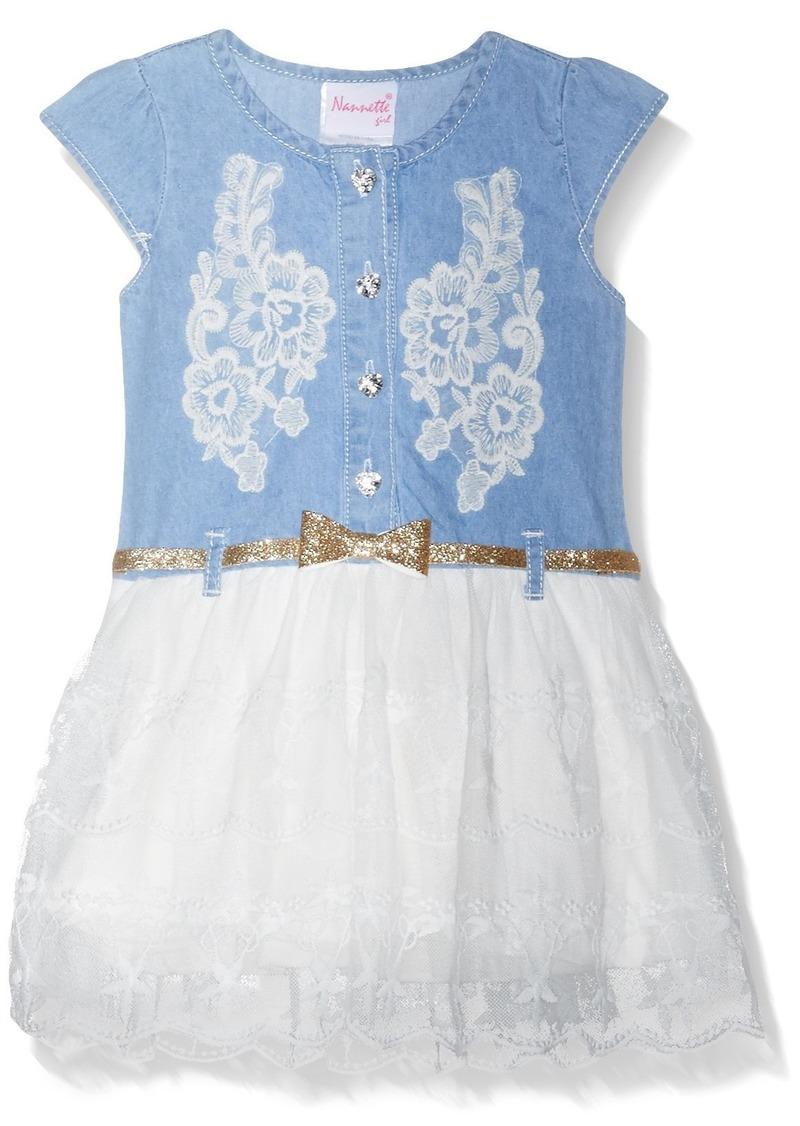Nannette girls knit blue and black dress