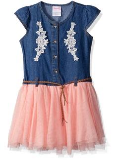 Nannette Toddler Girls' Denim Dress with Tulle and Braided Belt