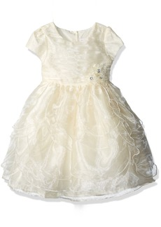 Nannette Toddler Girls' Organza Dress with Tucked Bodice and Tiered Petals