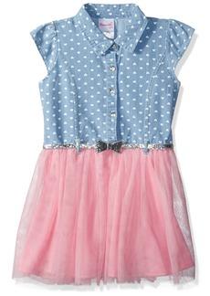 Nannette Girls' Toddler Printed Denim Dress with Glitter Belt and Tulle Skirt