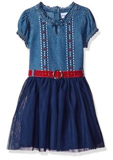 Nannette Toddler Girls' Short Sleeve Denim Dress with Tulle