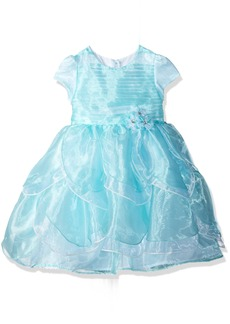 Nannette Toddler Girls' Short Sleeved Organza Dress with Tucked Bodice and Tiered Petals