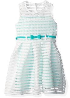 Nannette Girls' Toddler Sleeveless Open Mesh Dress with Contrast Lining Belt