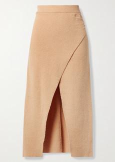 Nanushka Ainsley Wrap-effect Cotton-blend Terry Midi Skirt