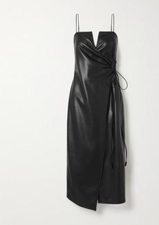 Nanushka Anubi Vegan Leather Midi Wrap Dress