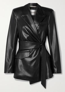 Nanushka Bea Belted Vegan Stretch-leather Blazer