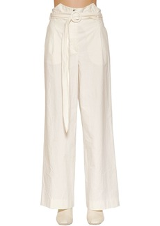 Nanushka Belted Wide Leg Cotton Gabardine Pants