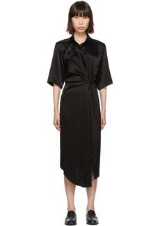 Nanushka Black Draped Lais Shirt Dress