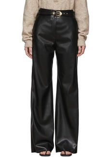 Nanushka Black Vegan Leather Kisa Trousers