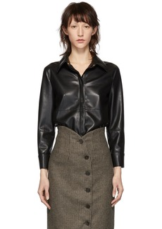 Nanushka Black Vegan Leather Naum Shirt