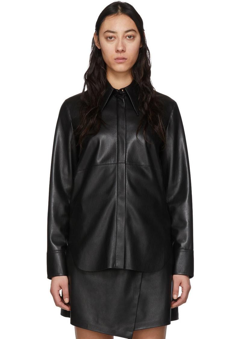 Nanushka Black Vegan Leather Noelle Shirt
