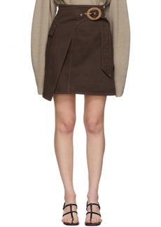 Nanushka Brown Wrap Miniskirt