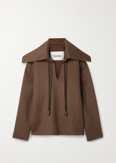 Nanushka Cape-effect Wool And Silk-blend Jacket