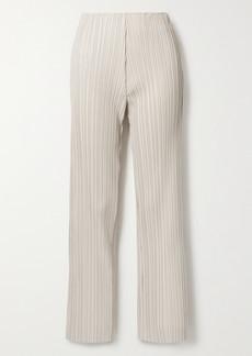 Nanushka Char Pleated Vegan Leather Straight-leg Pants