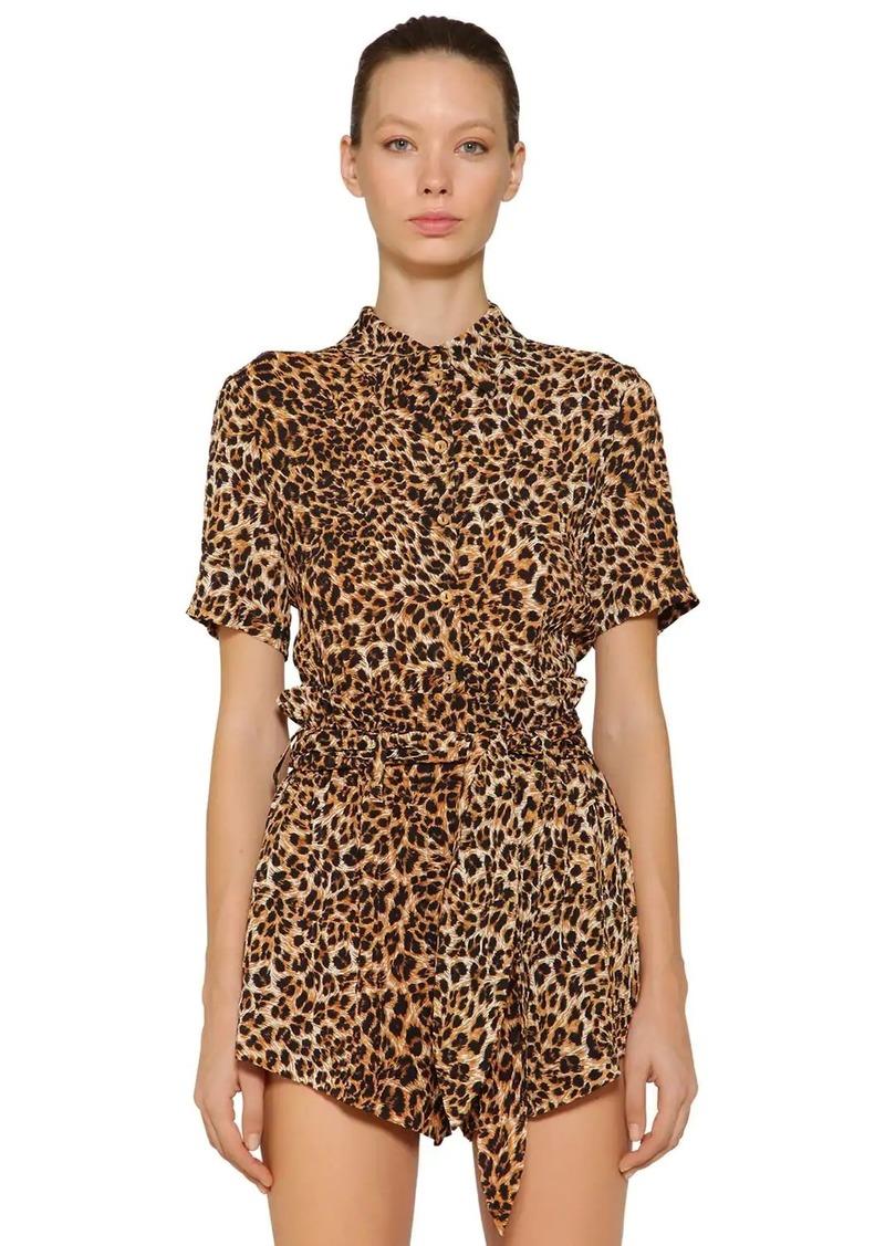 Nanushka Clare Leopard Printed Viscose Shirt