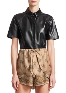 Nanushka Clare Vegan Leather Collared Shirt
