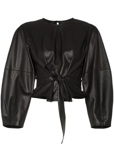 Nanushka corsa faux leather belted top
