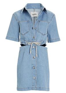Nanushka Cut-Out Denim Mini Shirt Dress