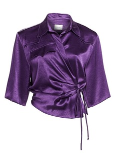Nanushka Dalas Satin Wrap Top