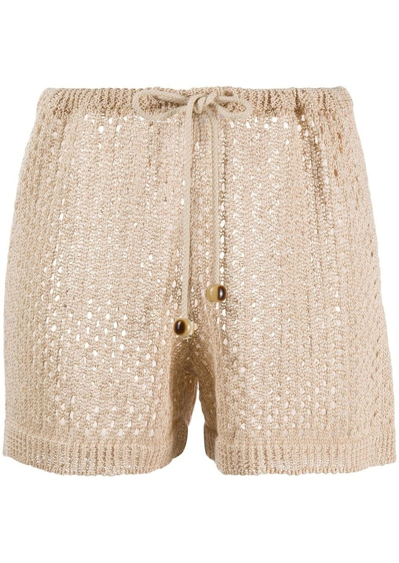 drawstring knitted shorts