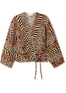 Nanushka Ehara Paneled Printed Crinkled-voile Wrap Shirt