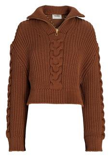 Nanushka Eria Half-Zip Cable Knit Sweater