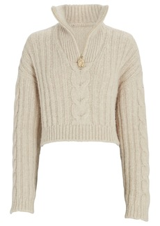 Nanushka Evie Half-Zip Cable Knit Sweater
