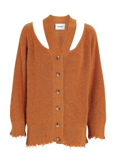 Nanushka Hee Oversized Cold-Shoulder Cardigan