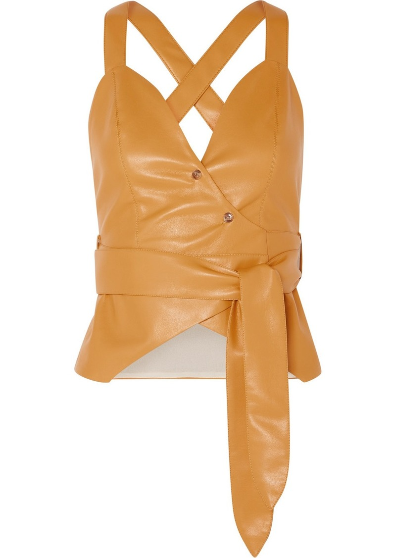 Nanushka Levi Vegan Leather Wrap Top