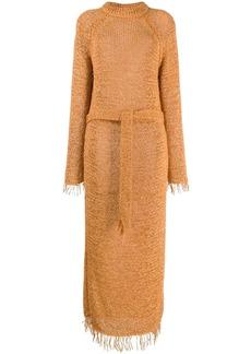 Nanushka loose knit fringe dress