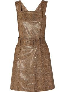Nanushka Lorena Belted Snake-effect Vegan Leather Mini Dress