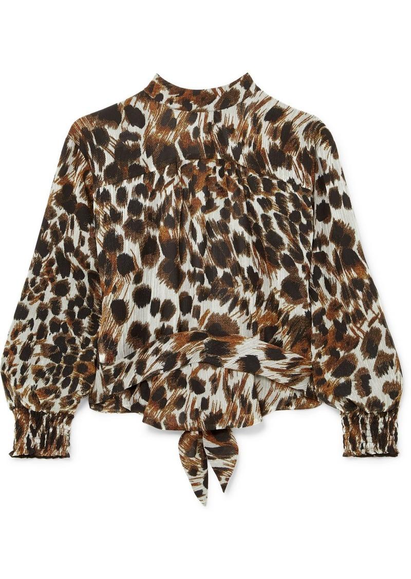 Nanushka Marjan Open-back Leopard-print Plissé-chiffon Blouse