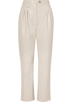 Nanushka Mitsu Cropped Vegan Leather Straight-leg Pants