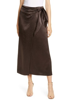 Nanushka Amas Crinkled Satin Midi Wrap Skirt
