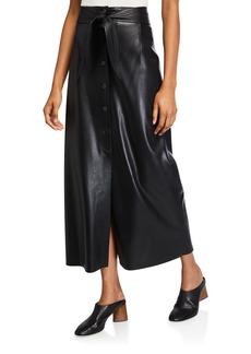 Nanushka Arfen Vegan Leather Tie-Waist Long Skirt