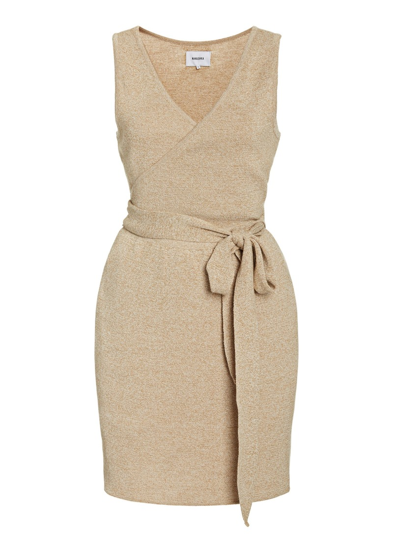 Nanushka Callie Cotton-Blend Mini Wrap Dress
