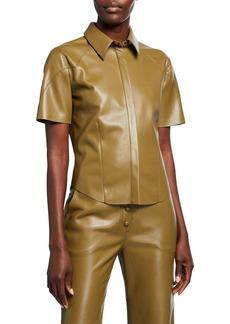 Nanushka Clare Vegan Leather Button-Down Top