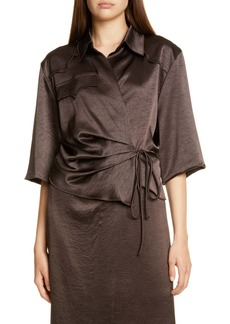 Nanushka Dalas Crinkled Satin Wrap Shirt