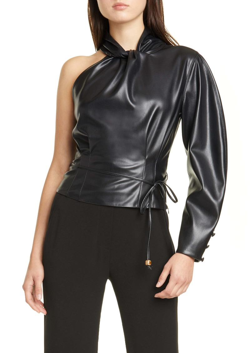 Nanushka Elodia One-Shoulder Vegan Leather Top