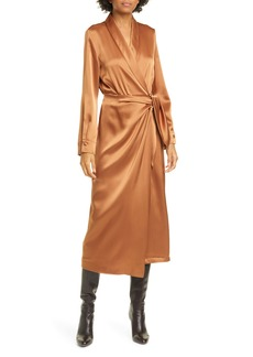 Nanushka Ezra Long Sleeve Satin Wrap Dress