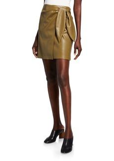 Nanushka Iowa Vegan-Leather Wrap Mini Skirt