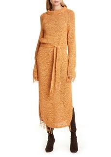 Nanushka Kaiza Belted Long Sleeve Fringe Sweater Dress