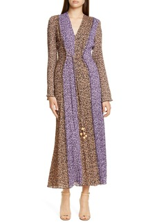 Nanushka Kamil Bicolor Print Long Sleeve Pleated Maxi Dress