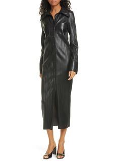 Nanushka Lee Long Sleeve Faux Leather Shirtdress