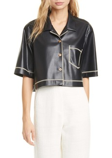 Nanushka Rhett Faux Leather Crop Shirt