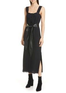 Nanushka Rita Vegan Leather Trim Cotton & Linen Blend Midi Dress